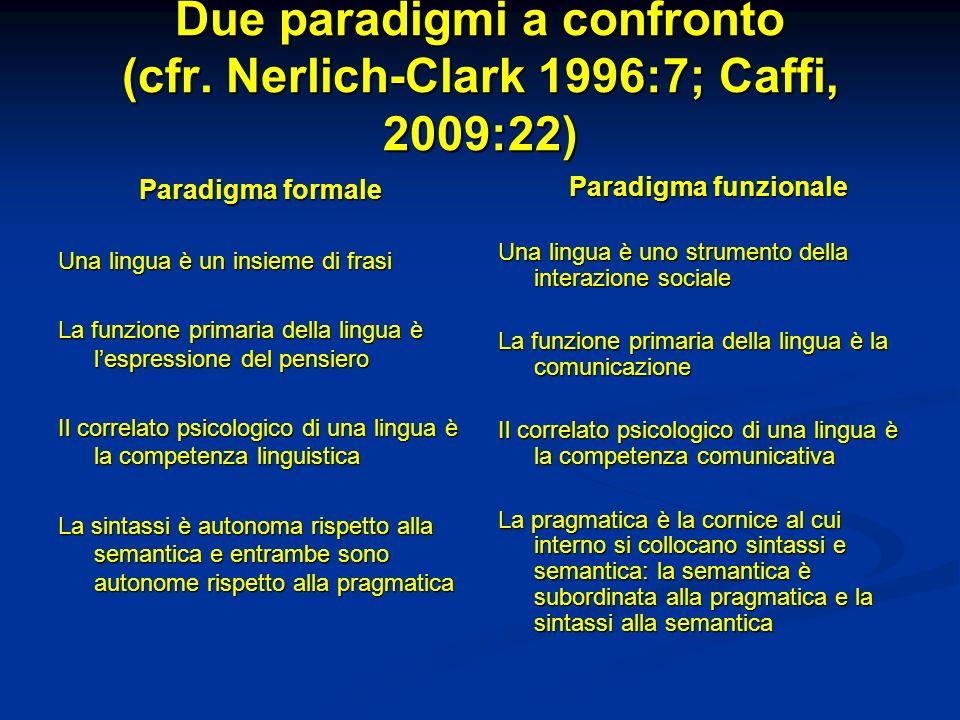 Due paradigmi a confronto (cfr. Nerlich-Clark 1996:7; Caffi, 2009:22) Paradigma formale Una lingua è un insieme di frasi La funzione primaria della li