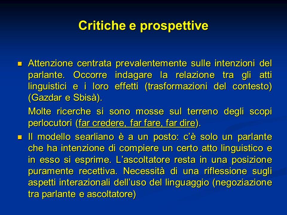 Critiche e prospettive Attenzione centrata prevalentemente sulle intenzioni del parlante. Occorre indagare la relazione tra gli atti linguistici e i l