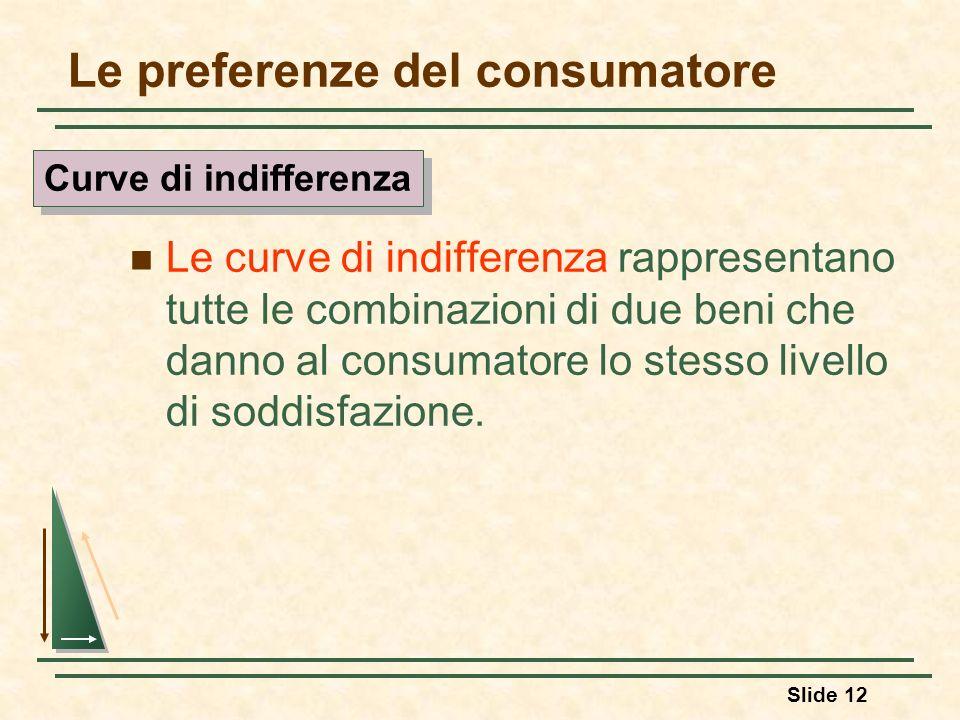 Slide 12 Le preferenze del consumatore Le curve di indifferenza rappresentano tutte le combinazioni di due beni che danno al consumatore lo stesso liv