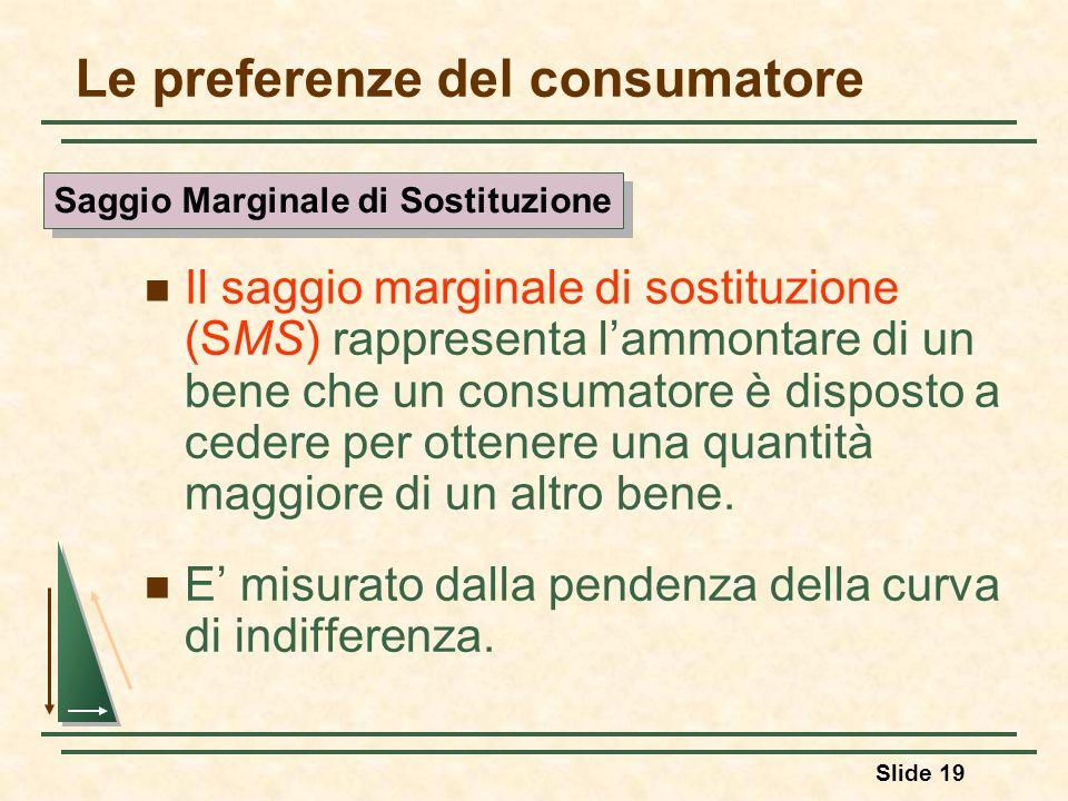 Slide 19 Le preferenze del consumatore Il saggio marginale di sostituzione (SMS) rappresenta lammontare di un bene che un consumatore è disposto a ced
