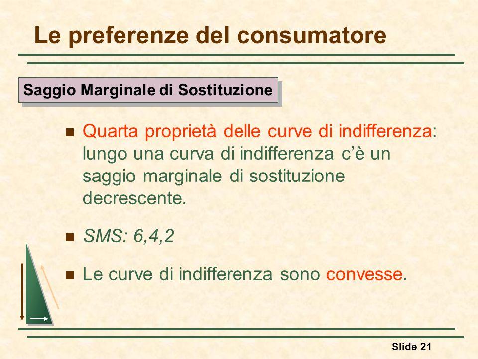 Slide 21 Le preferenze del consumatore Quarta proprietà delle curve di indifferenza: lungo una curva di indifferenza cè un saggio marginale di sostitu