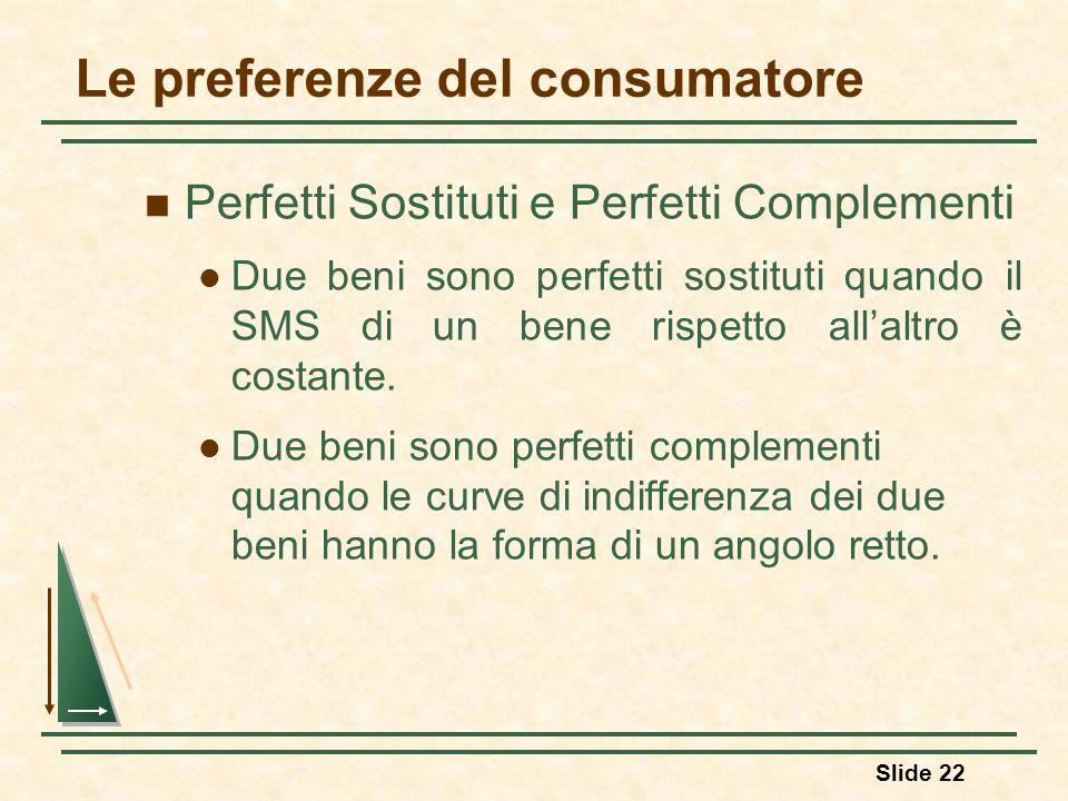 Slide 22 Le preferenze del consumatore Perfetti Sostituti e Perfetti Complementi Due beni sono perfetti sostituti quando il SMS di un bene rispetto al
