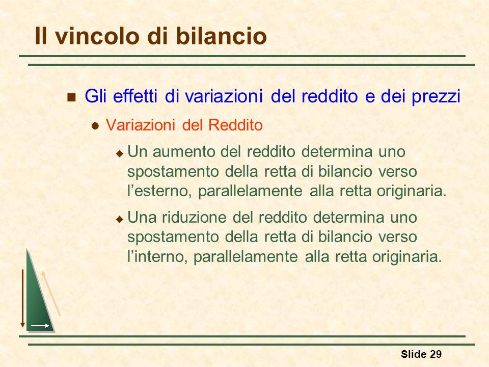 Slide 29 Il vincolo di bilancio Gli effetti di variazioni del reddito e dei prezzi Variazioni del Reddito Un aumento del reddito determina uno spostam