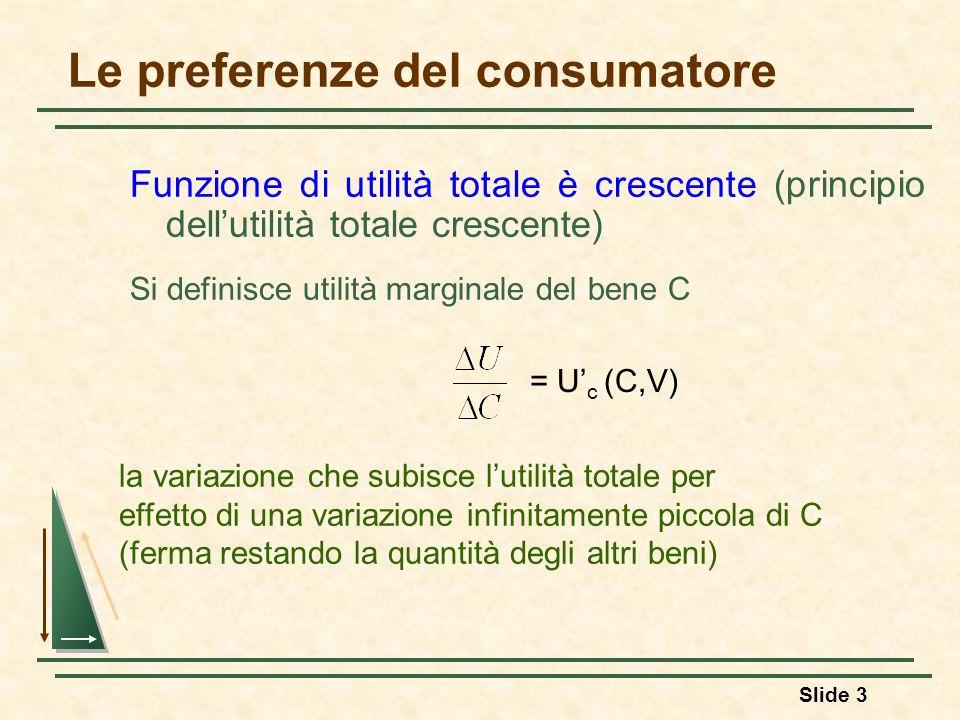 Slide 3 Le preferenze del consumatore Funzione di utilità totale è crescente (principio dellutilità totale crescente) Si definisce utilità marginale d