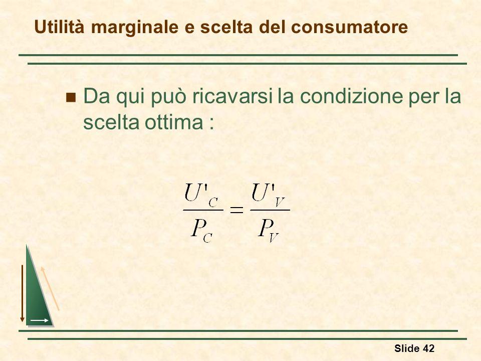 Slide 42 Da qui può ricavarsi la condizione per la scelta ottima : Utilità marginale e scelta del consumatore