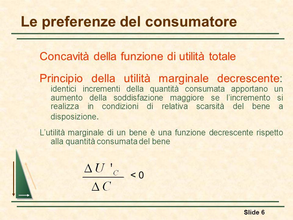 Slide 6 Le preferenze del consumatore Concavità della funzione di utilità totale Principio della utilità marginale decrescente: identici incrementi de