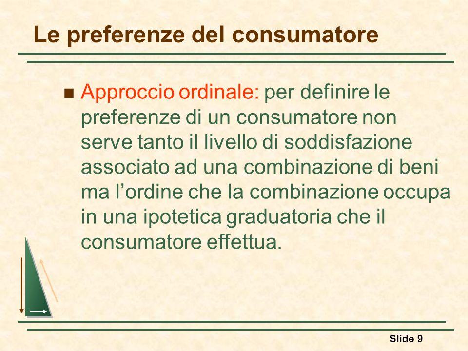Slide 9 Le preferenze del consumatore Approccio ordinale: per definire le preferenze di un consumatore non serve tanto il livello di soddisfazione ass