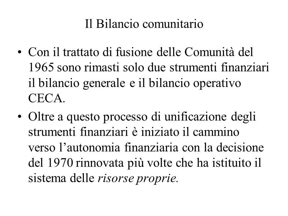 Il Bilancio comunitario Con il trattato di fusione delle Comunità del 1965 sono rimasti solo due strumenti finanziari il bilancio generale e il bilancio operativo CECA.