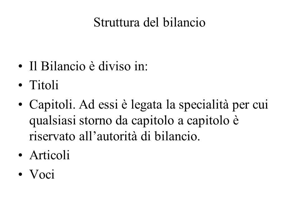 Struttura del bilancio Il Bilancio è diviso in: Titoli Capitoli.