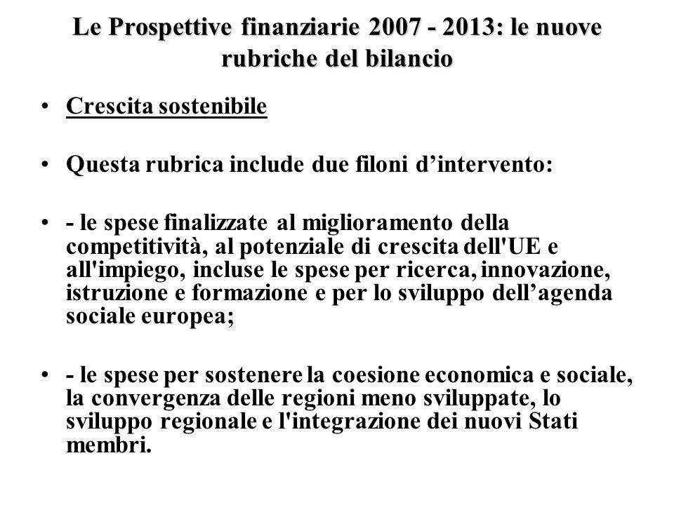 Le Prospettive finanziarie 2007 - 2013: le nuove rubriche del bilancio Crescita sostenibile Questa rubrica include due filoni dintervento: - le spese finalizzate al miglioramento della competitività, al potenziale di crescita dell UE e all impiego, incluse le spese per ricerca, innovazione, istruzione e formazione e per lo sviluppo dellagenda sociale europea; - le spese per sostenere la coesione economica e sociale, la convergenza delle regioni meno sviluppate, lo sviluppo regionale e l integrazione dei nuovi Stati membri.