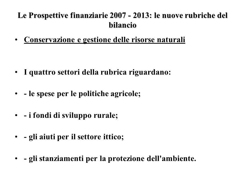 Le Prospettive finanziarie 2007 - 2013: le nuove rubriche del bilancio Conservazione e gestione delle risorse naturali I quattro settori della rubrica riguardano: - le spese per le politiche agricole; - i fondi di sviluppo rurale; - gli aiuti per il settore ittico; - gli stanziamenti per la protezione dell ambiente.