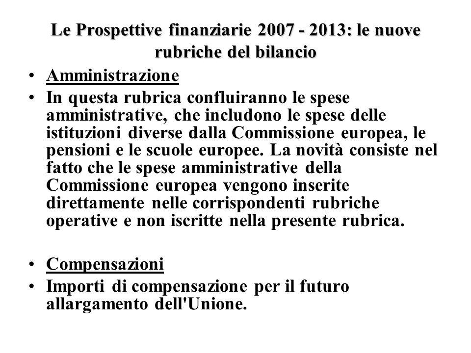 Le Prospettive finanziarie 2007 - 2013: le nuove rubriche del bilancio Amministrazione In questa rubrica confluiranno le spese amministrative, che includono le spese delle istituzioni diverse dalla Commissione europea, le pensioni e le scuole europee.