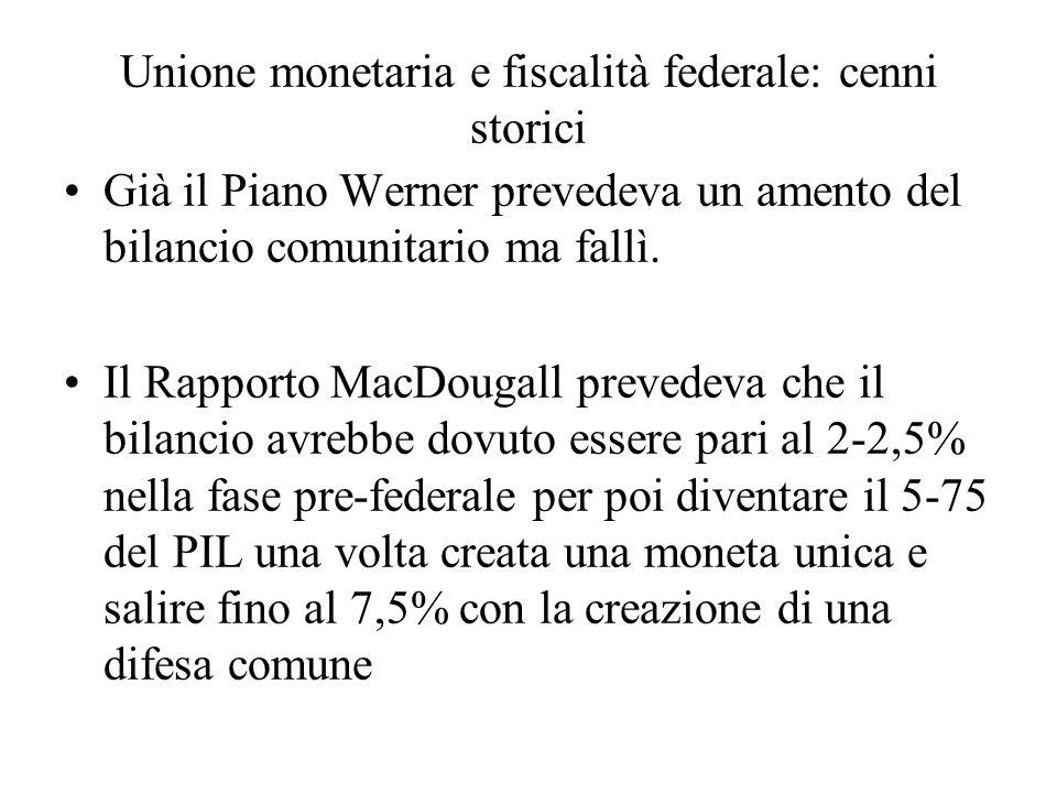 Unione monetaria e fiscalità federale: cenni storici Già il Piano Werner prevedeva un amento del bilancio comunitario ma fallì.