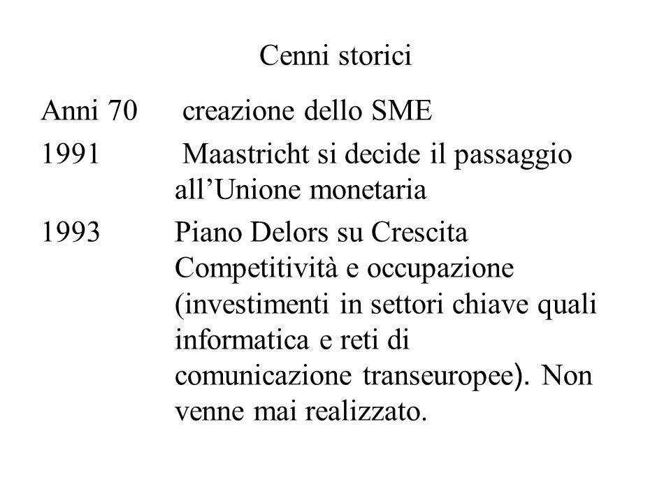 Cenni storici Anni 70 creazione dello SME 1991 Maastricht si decide il passaggio allUnione monetaria 1993Piano Delors su Crescita Competitività e occupazione (investimenti in settori chiave quali informatica e reti di comunicazione transeuropee ).