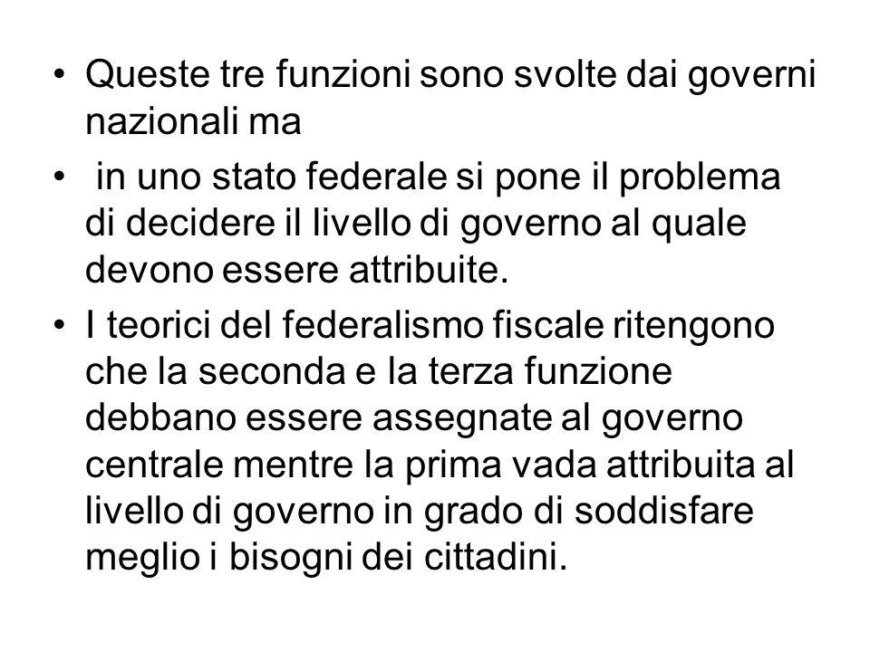 Queste tre funzioni sono svolte dai governi nazionali ma in uno stato federale si pone il problema di decidere il livello di governo al quale devono essere attribuite.