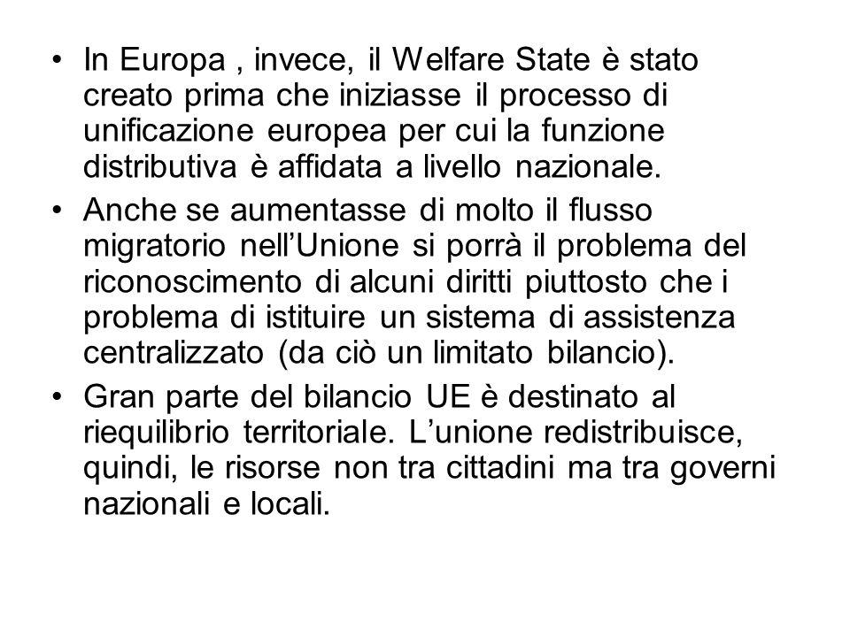 In Europa, invece, il Welfare State è stato creato prima che iniziasse il processo di unificazione europea per cui la funzione distributiva è affidata a livello nazionale.