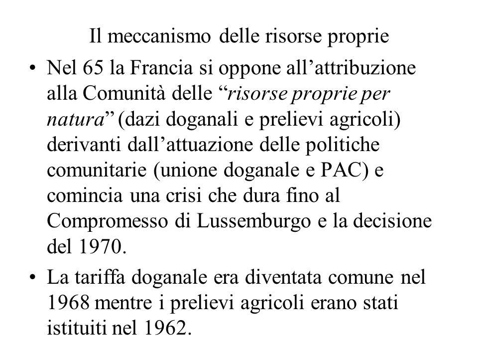 Il meccanismo delle risorse proprie Nel 65 la Francia si oppone allattribuzione alla Comunità delle risorse proprie per natura (dazi doganali e prelievi agricoli) derivanti dallattuazione delle politiche comunitarie (unione doganale e PAC) e comincia una crisi che dura fino al Compromesso di Lussemburgo e la decisione del 1970.