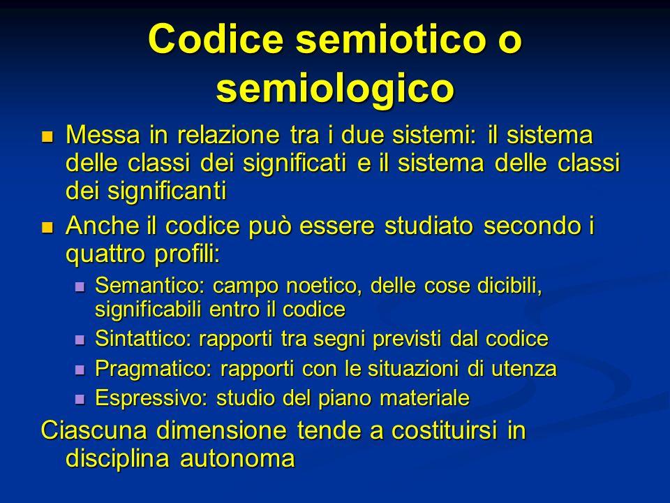 Codice semiotico o semiologico Messa in relazione tra i due sistemi: il sistema delle classi dei significati e il sistema delle classi dei significant