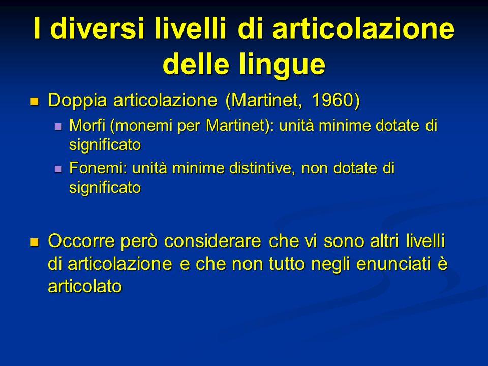 I diversi livelli di articolazione delle lingue Doppia articolazione (Martinet, 1960) Doppia articolazione (Martinet, 1960) Morfi (monemi per Martinet