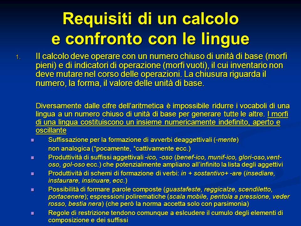 Requisiti di un calcolo e confronto con le lingue 1. Il calcolo deve operare con un numero chiuso di unità di base (morfi pieni) e di indicatori di op