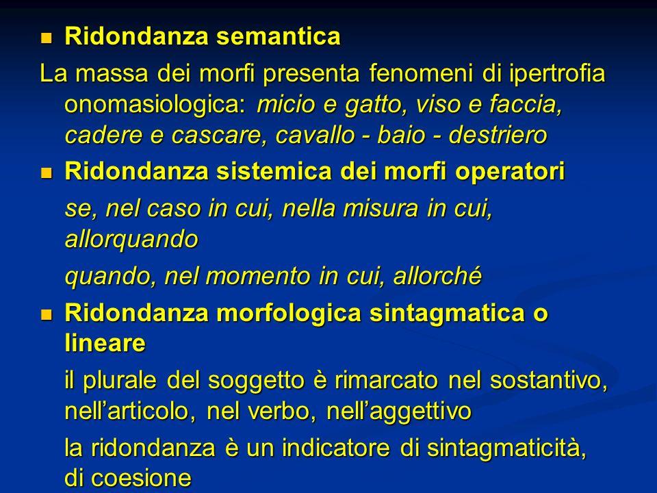 Ridondanza semantica Ridondanza semantica La massa dei morfi presenta fenomeni di ipertrofia onomasiologica: micio e gatto, viso e faccia, cadere e ca