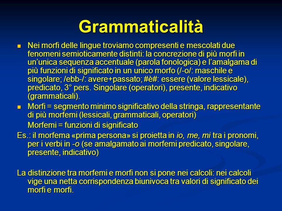 Grammaticalità Nei morfi delle lingue troviamo compresenti e mescolati due fenomeni semioticamente distinti: la concrezione di più morfi in ununica se