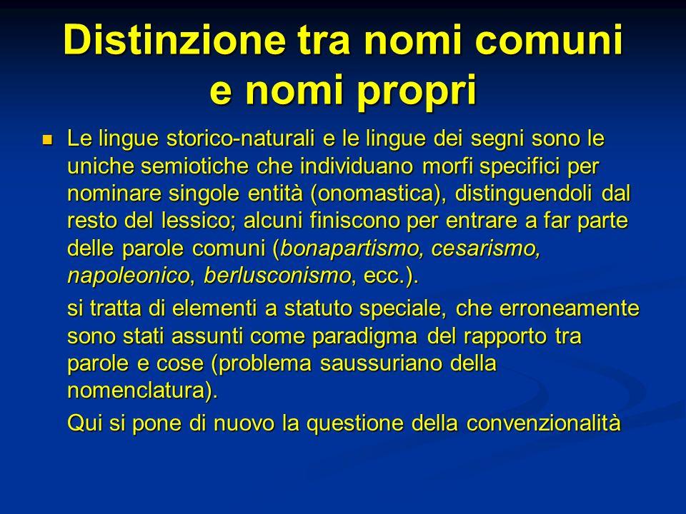 Distinzione tra nomi comuni e nomi propri Le lingue storico-naturali e le lingue dei segni sono le uniche semiotiche che individuano morfi specifici p