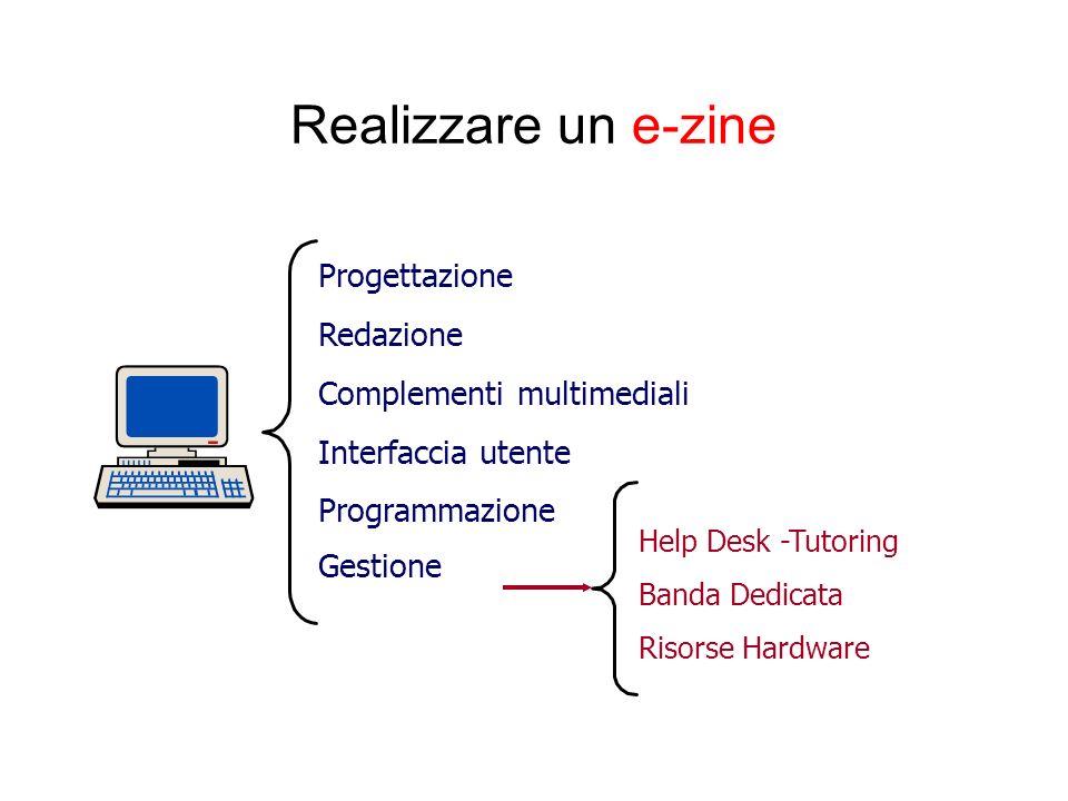 Realizzare un e-zine Progettazione Redazione Complementi multimediali Interfaccia utente Programmazione Gestione Help Desk -Tutoring Banda Dedicata Ri