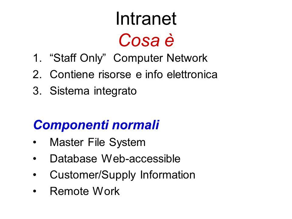 Intranet Cosa è 1.Staff Only Computer Network 2.Contiene risorse e info elettronica 3.Sistema integrato Componenti normali Master File System Database