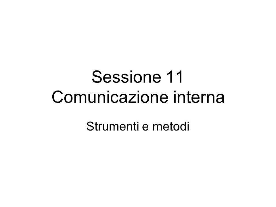 Sessione 11 Comunicazione interna Strumenti e metodi