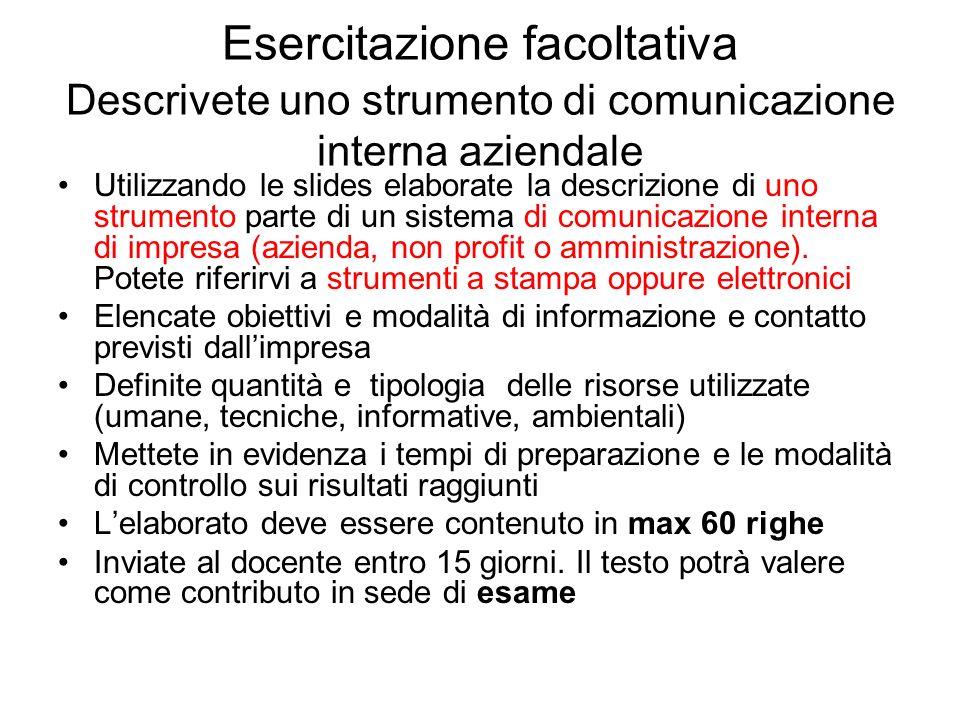 Esercitazione facoltativa Descrivete uno strumento di comunicazione interna aziendale Utilizzando le slides elaborate la descrizione di uno strumento