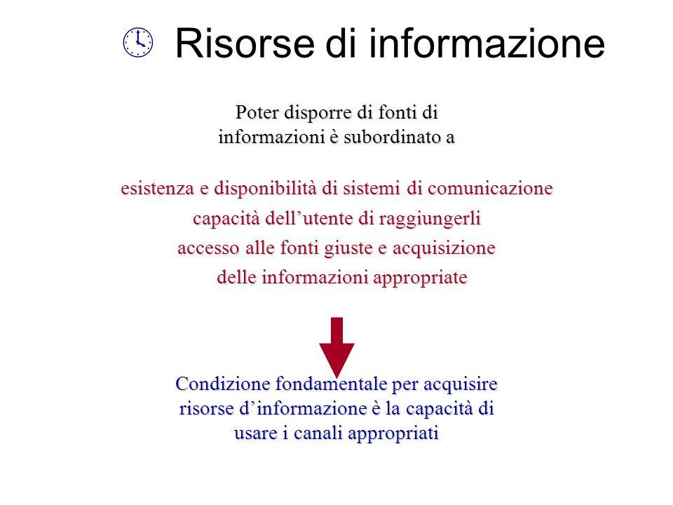 º Risorse di informazione Poter disporre di fonti di informazioni è subordinato a esistenza e disponibilità di sistemi di comunicazione capacità dellu