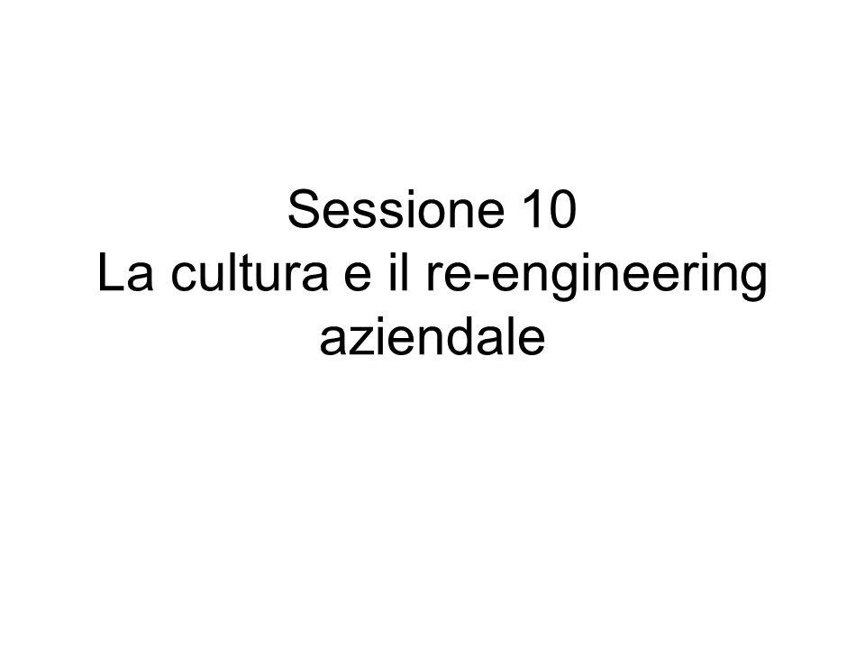 Sessione 10 La cultura e il re-engineering aziendale