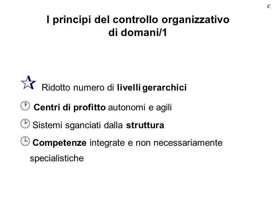 I principi del controllo organizzativo di domani/1 ¶ Ridotto numero di livelli gerarchici · Centri di profitto autonomi e agili ¸ Sistemi sganciati dalla struttura ¹ Competenze integrate e non necessariamente specialistiche C