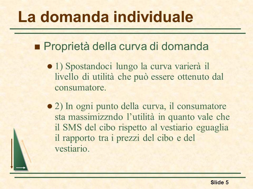 Slide 5 La domanda individuale Proprietà della curva di domanda 1) Spostandoci lungo la curva varierà il livello di utilità che può essere ottenuto da
