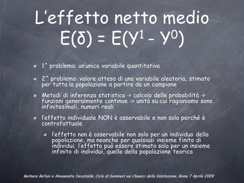 Leffetto netto medio E(δ) = E(Y 1 - Y 0 ) 1^ problema: ununica variabile quantitativa 2^ problema: valore atteso di una variabile aleatoria, stimato per tutta la popolazione a partire da un campione Metodi di inferenza statistica -> calcolo delle probabilità -> funzioni generalmente continue -> unità su cui ragioniamo sono infinitesimali, numeri reali leffetto individuale NON è osservabile e non solo perché è controfattuale leffetto non è osservabile non solo per un individuo della popolazione, ma neanche per qualsiasi insieme finito di individui; leffetto può essere stimato solo per un insieme infinito di individui, quello della popolazione teorica Barbara Befani e Alessandra Decataldo, Ciclo di Seminari sui Classici della Valutazione, Roma 7 Aprile 2009