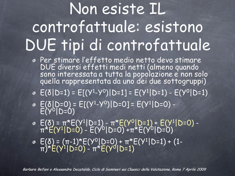 Non esiste IL controfattuale: esistono DUE tipi di controfattuale Per stimare leffetto medio netto devo stimare DUE diversi effetti medi netti (almeno quando sono interessata a tutta la popolazione e non solo quella rappresentata da uno dei due sottogruppi) E(δ|D=1) = E[(Y 1 -Y 0 )|D=1] = E(Y 1 |D=1) - E(Y 0 |D=1) E(δ|D=0) = E[(Y 1 -Y 0 )|D=0] = E(Y 1 |D=0) - E(Y 0 |D=0) E(δ) = π*E(Y 1 |D=1) - π*E(Y 0 |D=1) + E(Y 1 |D=0) - π*E(Y 1 |D=0) - E(Y 0 |D=0) +π*E(Y 0 |D=0) E(δ) = (π-1)*E(Y 0 |D=0) + π*E(Y 1 |D=1) + (1- π)*E(Y 1 |D=0) - π*E(Y 0 |D=1) Barbara Befani e Alessandra Decataldo, Ciclo di Seminari sui Classici della Valutazione, Roma 7 Aprile 2009