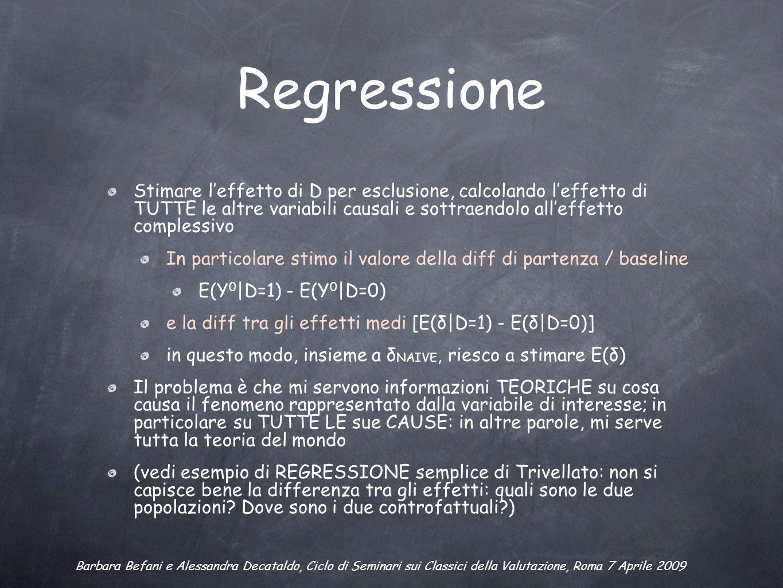 Regressione Stimare leffetto di D per esclusione, calcolando leffetto di TUTTE le altre variabili causali e sottraendolo alleffetto complessivo In particolare stimo il valore della diff di partenza / baseline E(Y 0 |D=1) - E(Y 0 |D=0) e la diff tra gli effetti medi [E(δ|D=1) - E(δ|D=0)] in questo modo, insieme a δ NAIVE, riesco a stimare E(δ) Il problema è che mi servono informazioni TEORICHE su cosa causa il fenomeno rappresentato dalla variabile di interesse; in particolare su TUTTE LE sue CAUSE: in altre parole, mi serve tutta la teoria del mondo (vedi esempio di REGRESSIONE semplice di Trivellato: non si capisce bene la differenza tra gli effetti: quali sono le due popolazioni.