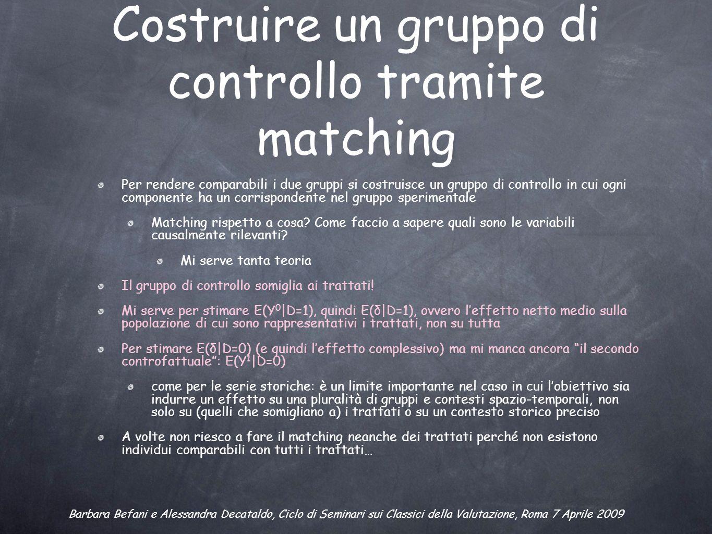 Costruire un gruppo di controllo tramite matching Per rendere comparabili i due gruppi si costruisce un gruppo di controllo in cui ogni componente ha un corrispondente nel gruppo sperimentale Matching rispetto a cosa.