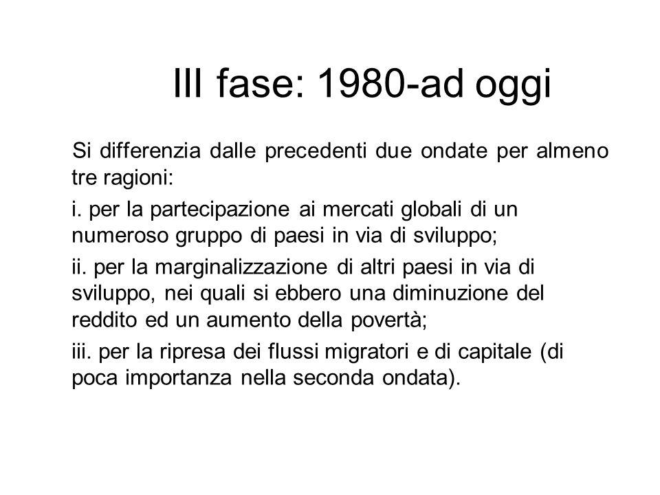 III fase: 1980-ad oggi Si differenzia dalle precedenti due ondate per almeno tre ragioni: i. per la partecipazione ai mercati globali di un numeroso g