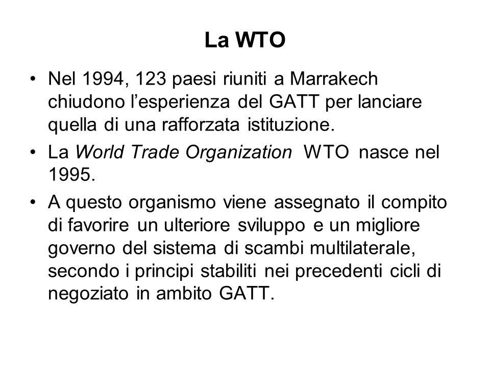 La WTO Nel 1994, 123 paesi riuniti a Marrakech chiudono lesperienza del GATT per lanciare quella di una rafforzata istituzione. La World Trade Organiz