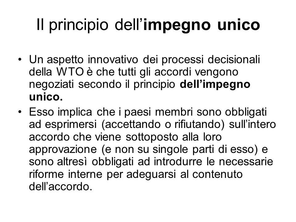 Il principio dellimpegno unico Un aspetto innovativo dei processi decisionali della WTO è che tutti gli accordi vengono negoziati secondo il principio