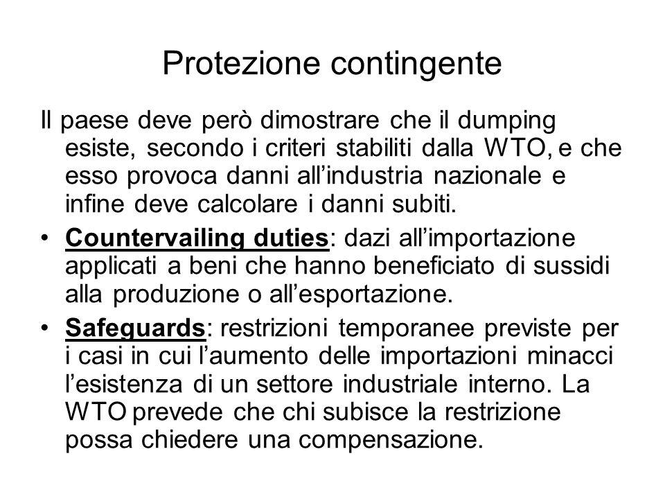Protezione contingente Il paese deve però dimostrare che il dumping esiste, secondo i criteri stabiliti dalla WTO, e che esso provoca danni allindustr