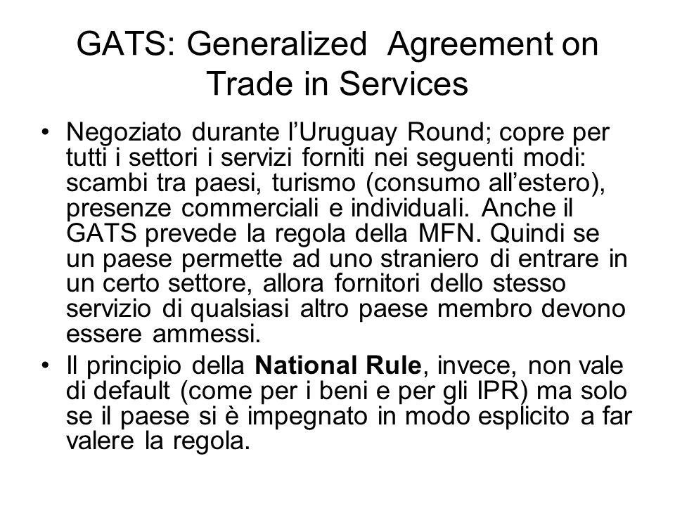 GATS: Generalized Agreement on Trade in Services Negoziato durante lUruguay Round; copre per tutti i settori i servizi forniti nei seguenti modi: scam
