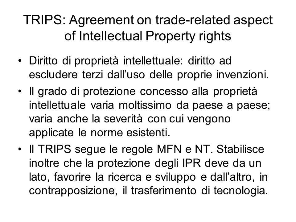 TRIPS: Agreement on trade-related aspect of Intellectual Property rights Diritto di proprietà intellettuale: diritto ad escludere terzi dalluso delle