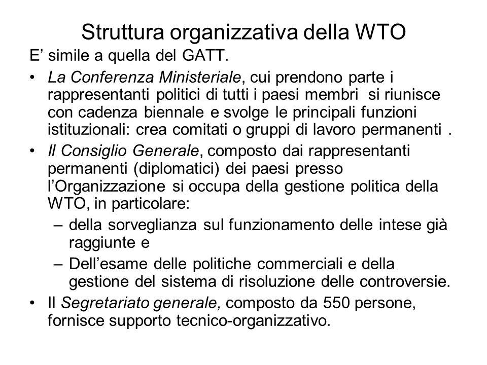 Struttura organizzativa della WTO E simile a quella del GATT. La Conferenza Ministeriale, cui prendono parte i rappresentanti politici di tutti i paes