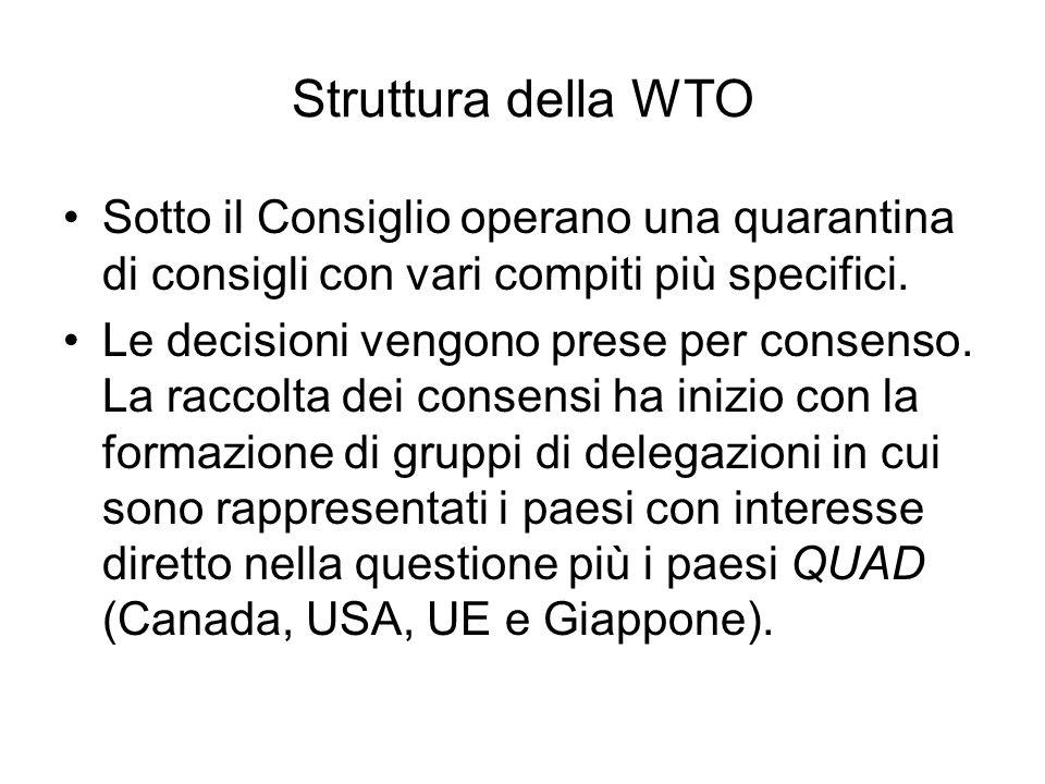 Struttura della WTO Sotto il Consiglio operano una quarantina di consigli con vari compiti più specifici. Le decisioni vengono prese per consenso. La