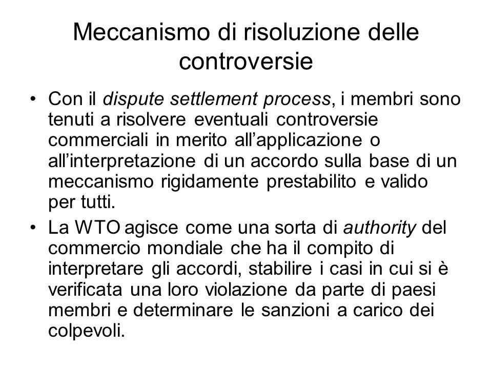 Meccanismo di risoluzione delle controversie Con il dispute settlement process, i membri sono tenuti a risolvere eventuali controversie commerciali in