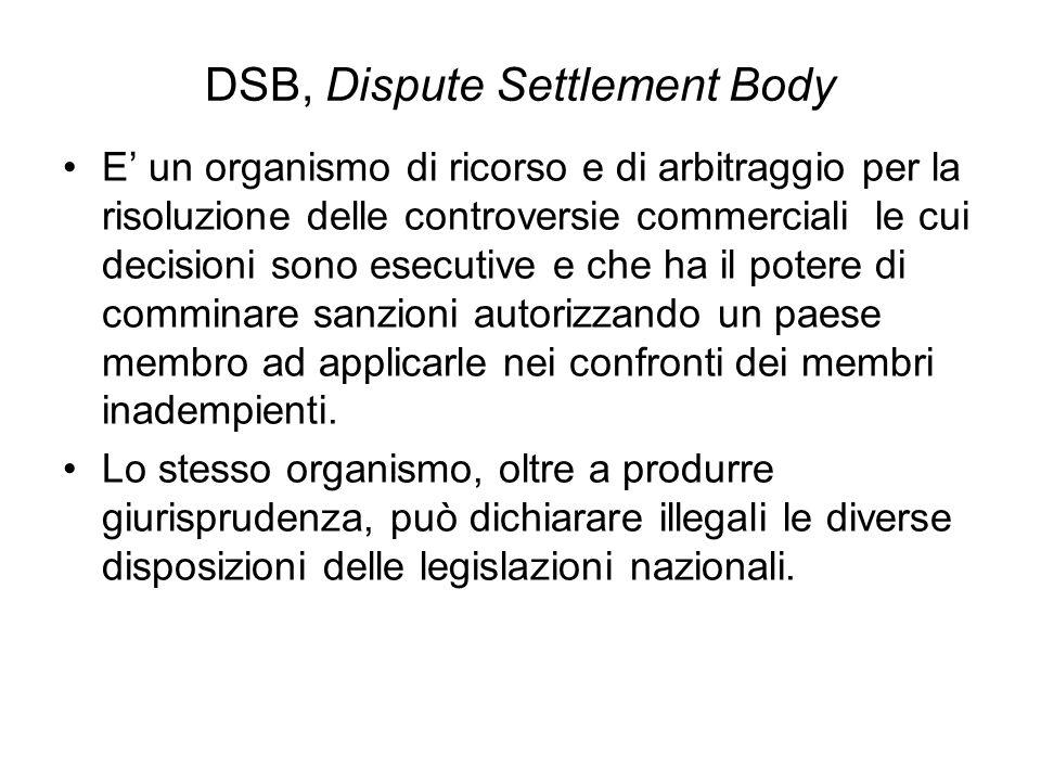 DSB, Dispute Settlement Body E un organismo di ricorso e di arbitraggio per la risoluzione delle controversie commerciali le cui decisioni sono esecut