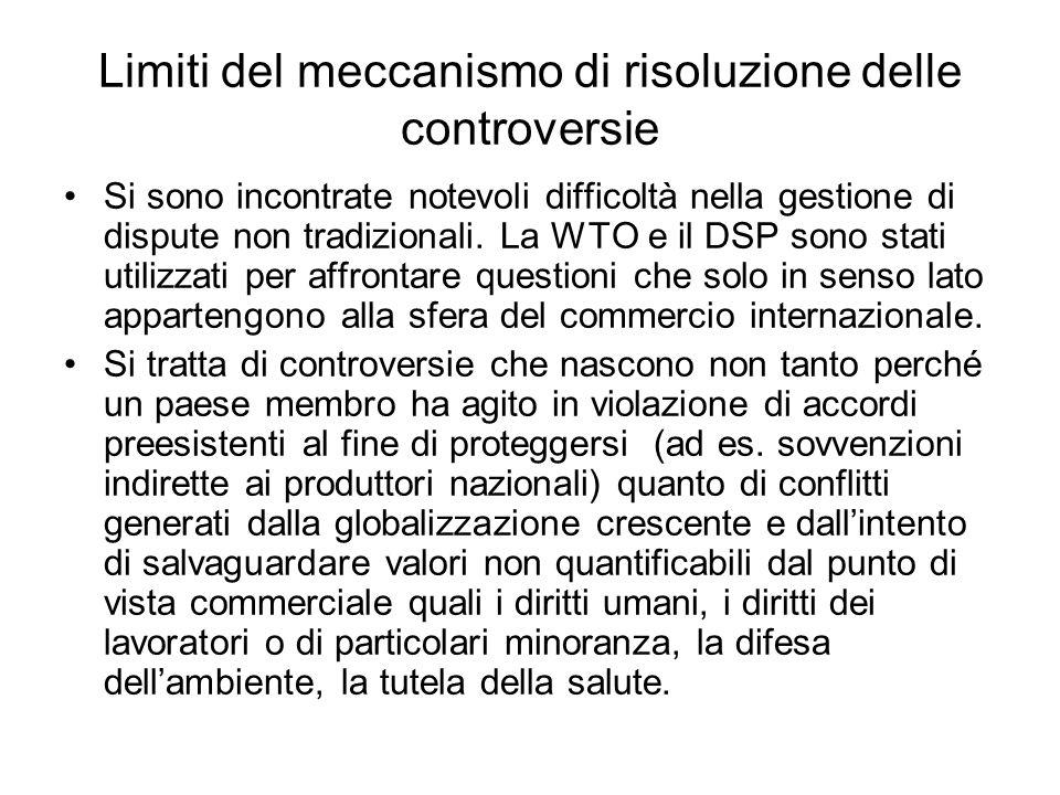Limiti del meccanismo di risoluzione delle controversie Si sono incontrate notevoli difficoltà nella gestione di dispute non tradizionali. La WTO e il